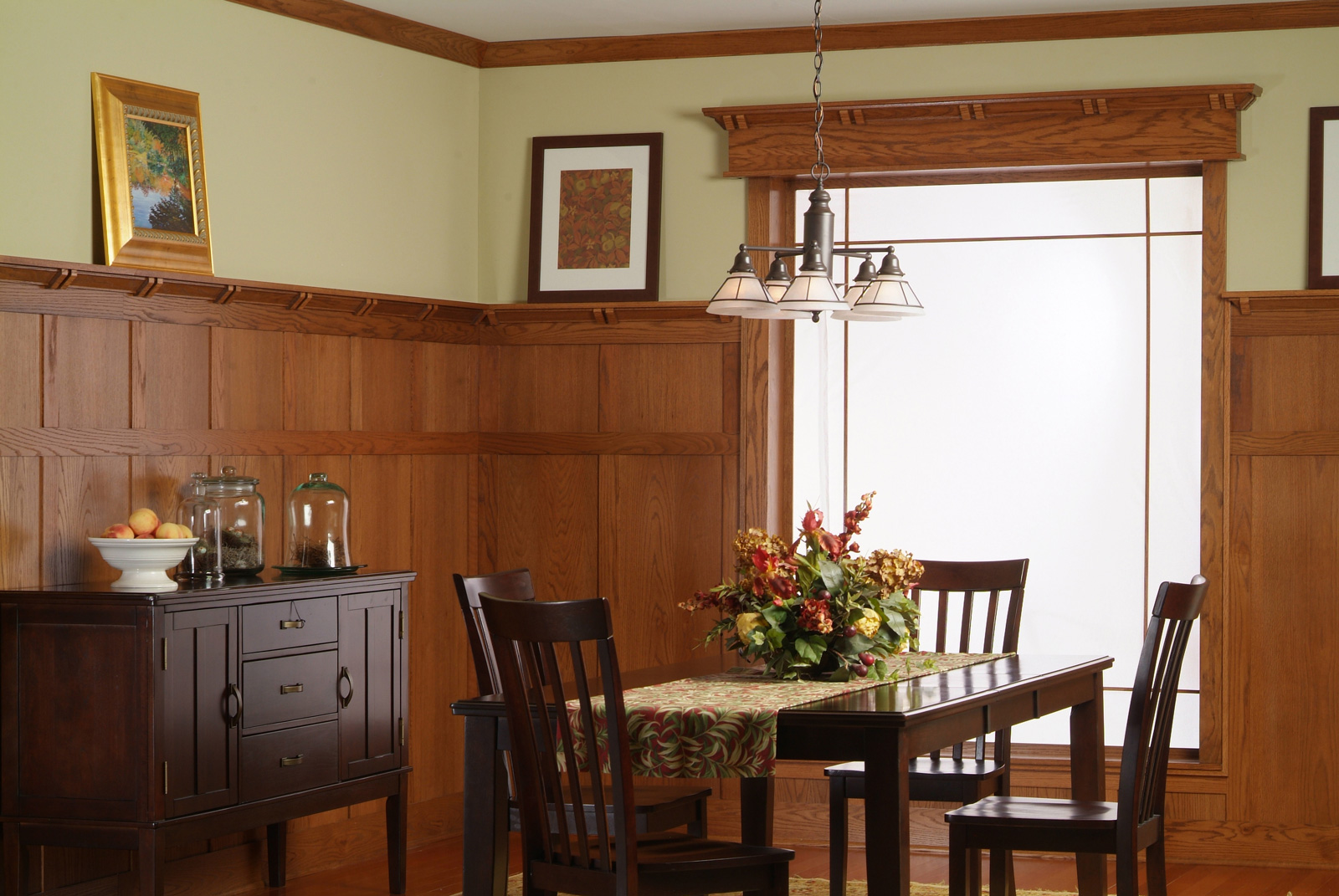 Classic craftsman mission wall paneling for Dining room paneling