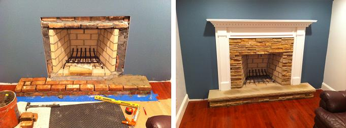 Before and After pictures of the Harrisburg Fireplace Mantel