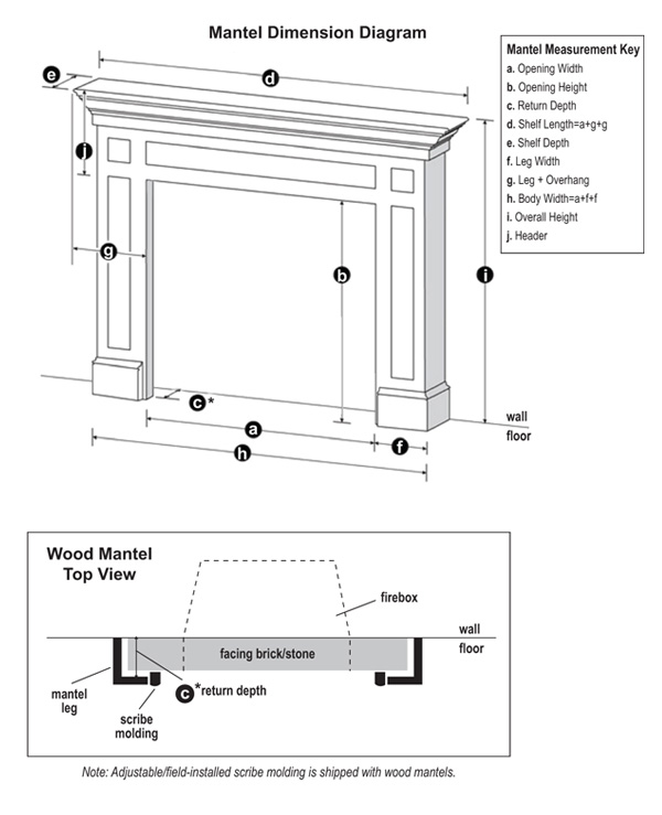 Leesburg wood fireplace mantel