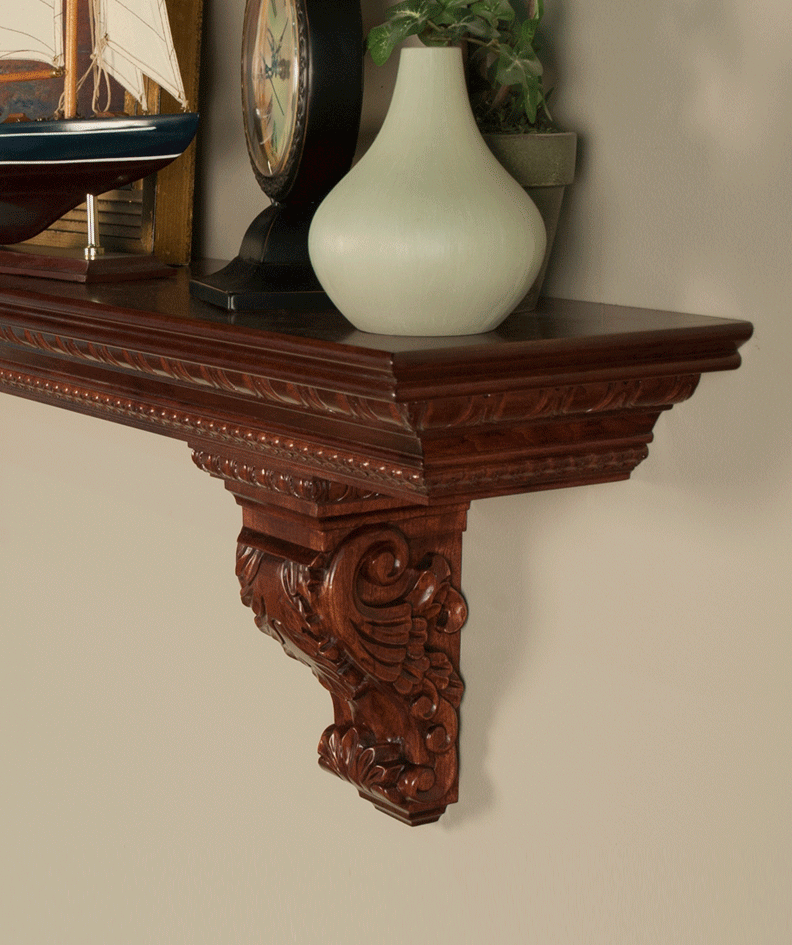 Commodore | Athenian Premium Mantel Shelf with Solid Wood Corbels