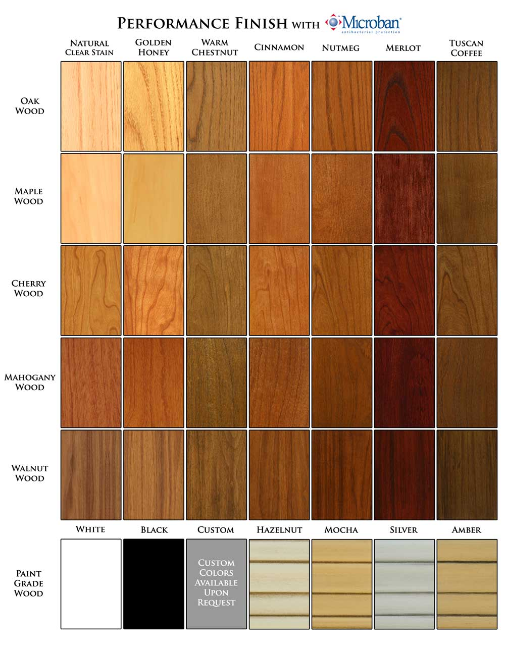 MantelCraft Wood Products Color Chart