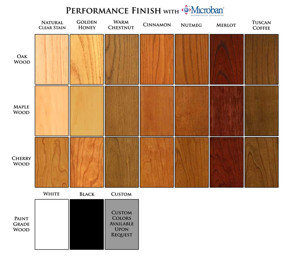 Wood and Finishes Selection Chart for New England Classic